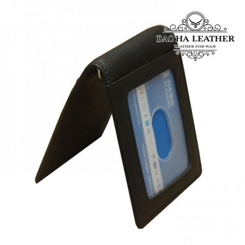 Ví kẹp tiền da bò chống RFID - BHL114 - Màu Đen