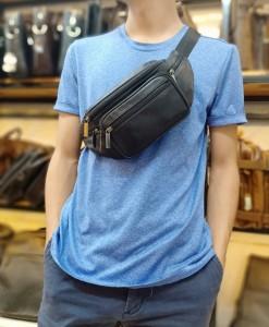Túi nam da bò đa năng - BHM8879 dùng để đeo trước ngực hay đeo bụng đêù ok