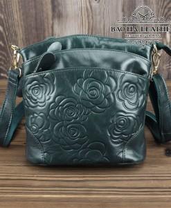 Túi nữ đeo chéo da bò dập nổi họa tiết 3D - BHDJ018 Xanh