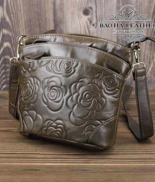 Túi nữ đeo chéo da bò dập nổi họa tiết 3D - BHDJ018 Nâu nhạt