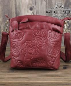 Túi nữ đeo chéo da bò dập nổi họa tiết 3D - BHDJ018 màu Đỏ