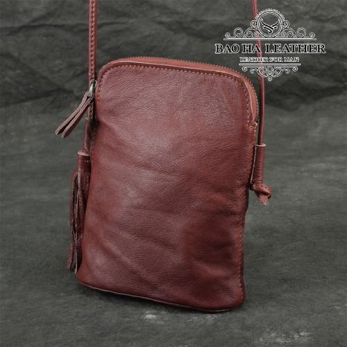 Túi nữ đeo chéo da bò mini - BHDJ006 màu Đỏ