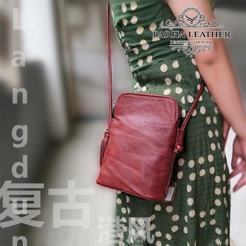 Túi nữ đeo chéo da bò mini - BHDJ006 - Màu đỏ