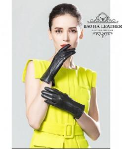 Găng tay nữ da cừu dài - BHY8792 - Màu Đen
