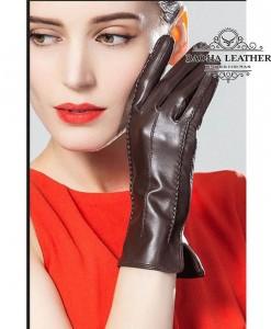Găng tay nữ da cừu dài - BHY8792 - Màu Nâu cà phê