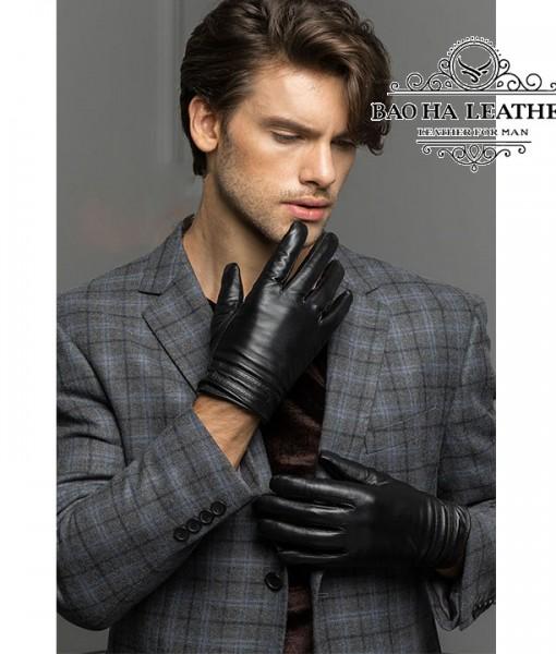 Găng tay da nam lót lông - BHY8615 (2)