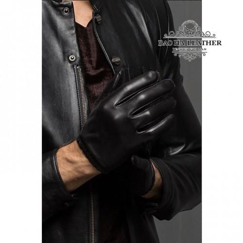 Găng tay da nam lót vải, ôm tay - BHY8805 - Mẫu da trơn