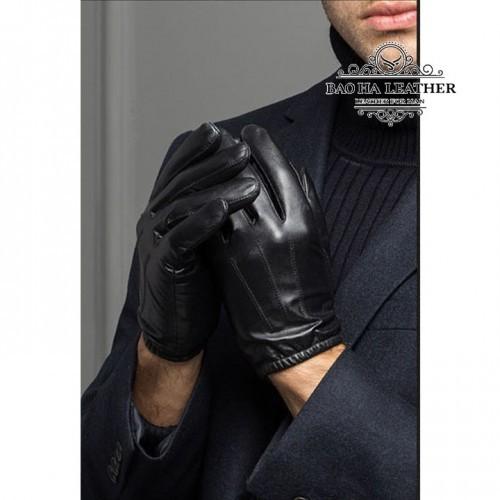 Găng tay da nam lót vải, ôm tay - BHY8805 - Mẫu có chỉ trắng nổi