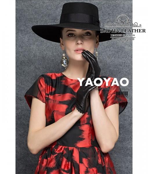 Găng tay nữ da cừu lót vải - BHY8852 - chính hãng YAOYAO của Hong Kong