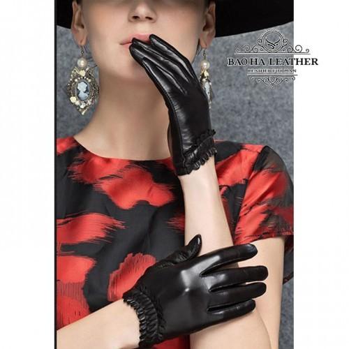 Găng tay nữ da cừu lót vải - BHY8852