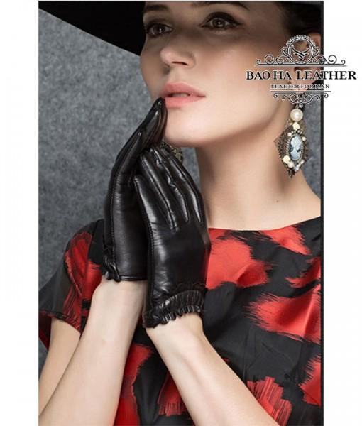 Găng tay nữ da cừu lót vải - BHY8852 (4)