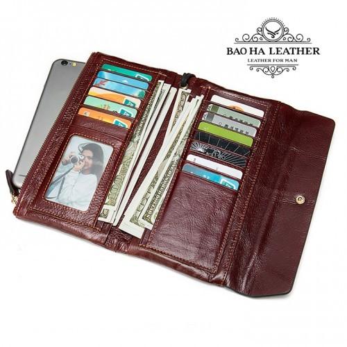 Hai ngăn khóa kéo để điện thoại, nhiều ngăn thẻ card, ngăn để tiền mặt, khe ảnh