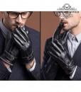 Găng tay da nam cổ len - BHY8763D Cản gió chống ngấm nước, giữ ấm tuyệt đối