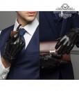 Găng tay da nam cổ len - BHY8763D Sang tọng đẳng cấp Quý ông