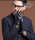 Găng tay da nam cổ len - BHY8763D Màu Lịch lãm và Nam tính