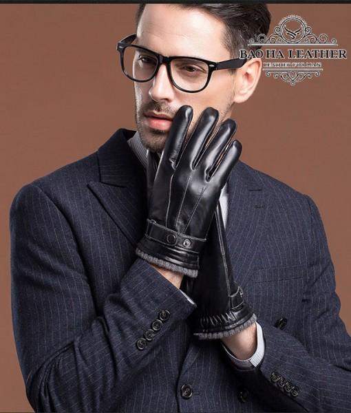 Găng tay da nam cổ len - BHY8763D