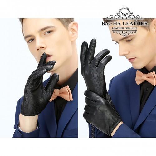 Găng tay da nam lót vải thoảng khí - BH6617 ôm tay và thật tay