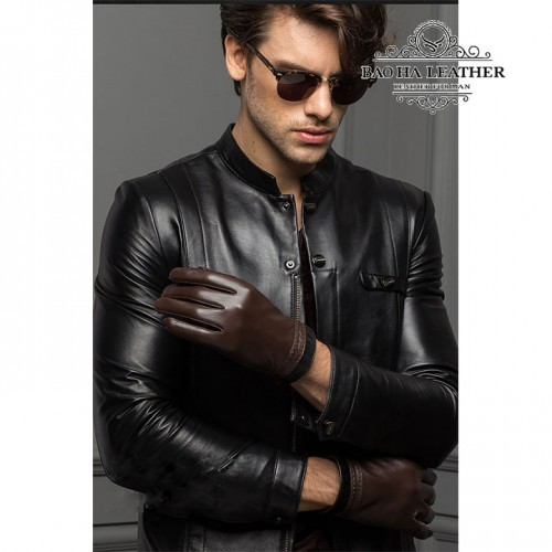 Găng tay nam da cừu lót lông - BHY8719 thời trang năng động