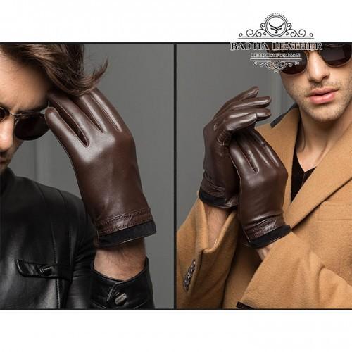 Găng tay nam da cừu lót lông - BHY8719 Màu Nâu phong cách và sang trọng
