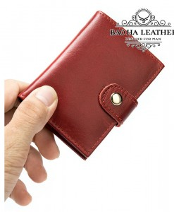 Ví đựng thẻ card tự động - BHM8602 chống RFID màu Đỏ