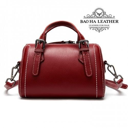 Túi đeo chéo nữ nhỏ da bò nguyên tấm - BHM9002 Màu Đỏ