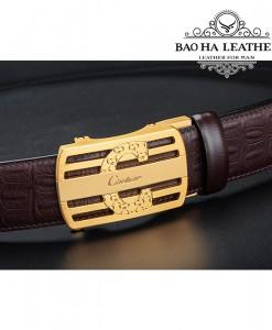 Dây lưng da bò dập vân cá sấu cao cấp Ciartuar - BH176 Gold Coffee