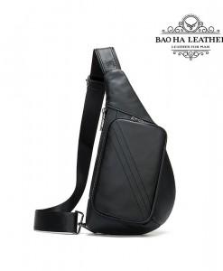Túi da đeo ngực nam cá tính - BHM7240D Đen tuyền