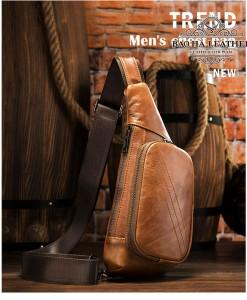 Túi da đeo ngực nam cá tính - BHM7240N Nâu bò