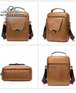 Túi da đeo chéo dáng hộp - BHM7329 màu nâu bò hoàn hảo mọi góc nhìn.