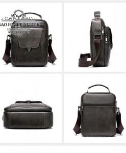 Túi da đeo chéo dáng hộp - BHM7329C màu Cà phê mọi góc nhìn