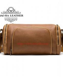 Túi trống đeo chéo da bò - BHM873 Nâu bò