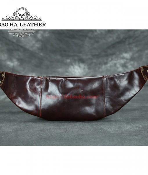 Túi nam bao tử da bò nguyên miếng - BHLX007 phía sau túi