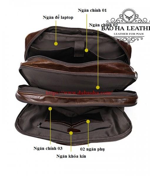 Các ngăn chính của cặp nam vô cùng rộng và thoải mái sắp xếp phụ kiện