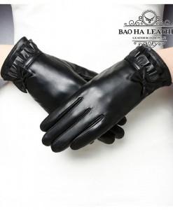 Găng tay da cừu nữ đính nơ - BH8738 Lót lông siêu ấm