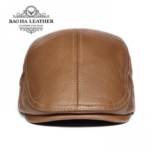 Mũ beret nam da bò BHY1907N Nâu bò