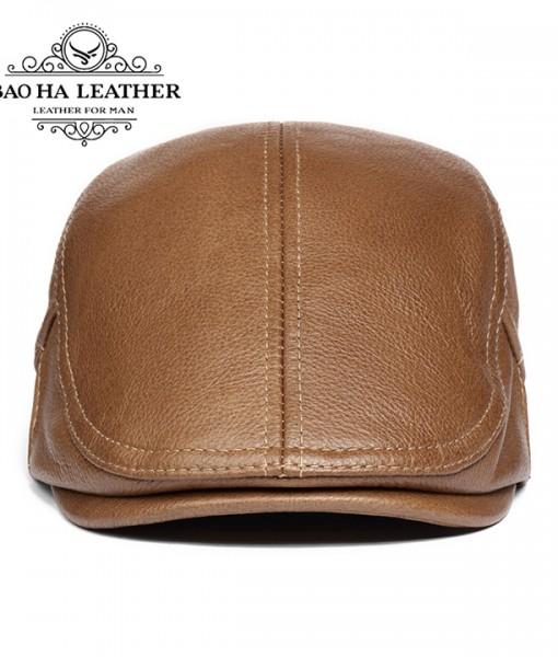 Mũ beret nam da bò BHY1907 Màu cà phê (1)
