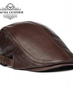Mũ beret nam da bò BHY1907 Màu cà phê 100% được làm từ da bò thật