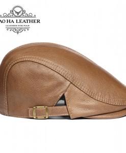 Mũ beret nam da bò BHY1907 Màu  bò
