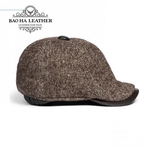 Mũ nồi nam da cừu phối len cao cấp BH15 Nâu nhạt