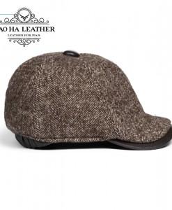 Mũ nồi nam da cừu phối len cao cấp BH15 màu Nâu