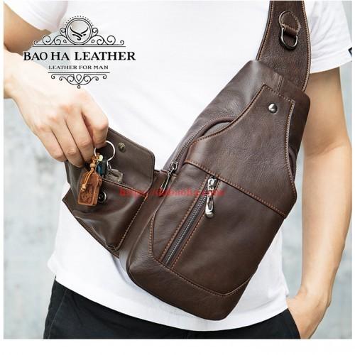 Túi đeo ngực da bò nam BHM7430 màu Cà ohee