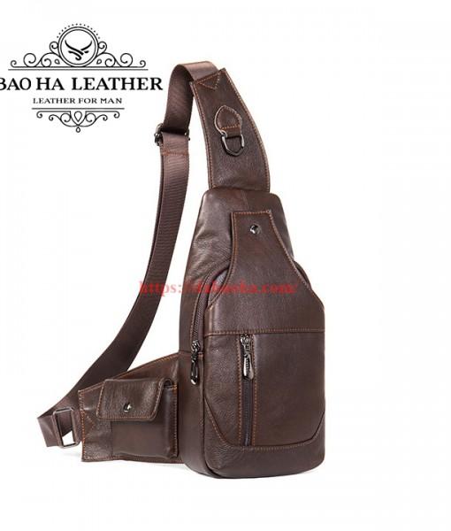 Túi đeo ngực da bò nam BHM7430 màu Đen (5)