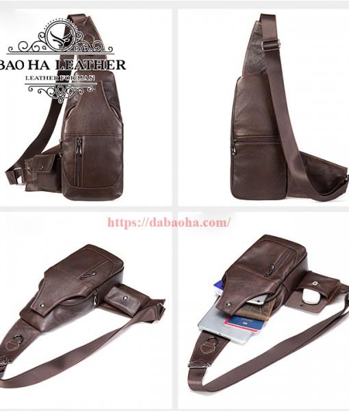 Túi đeo ngực da bò nam BHM7430 màu Cà phê với mọi góc nhìn khác nhau