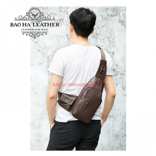 Túi đeo ngực da bò nam BHM7430 màu Cà phê