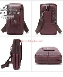 Túi da đeo hông - Túi đeo chéo nhỏ BHM7500 màu Nâu đậm dưới mọi góc nhìn