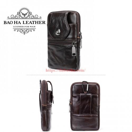 Túi đeo hông da bò - BHM7536C Túi đeo chéo nhỏ màu Cà phê