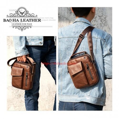 Túi đeo chéo Bao Ha Leather BHM7512C Màu Cà phê