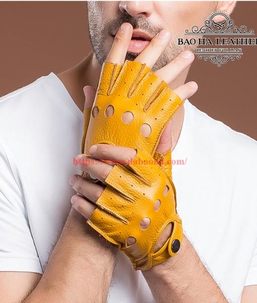 Găng tay hở ngón nam da cừu cao cấp BHY8853