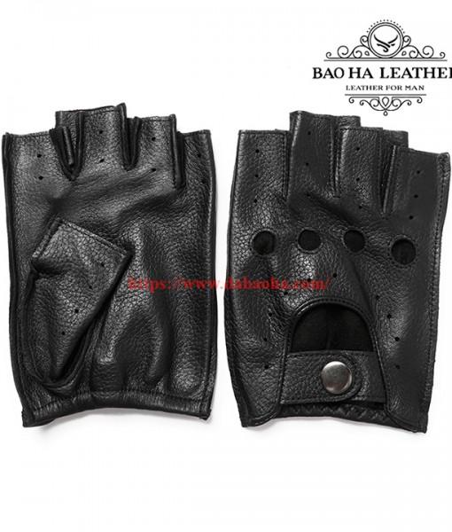 Găng tay nam hở ngón cao cấp BHYST03D Màu Đen