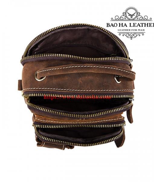 Túi đéo chéo nam cỡ nhỏ BHM1171 Da bò sáp thô (13)